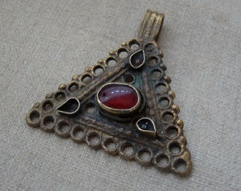 Red Glass Kuchi Triangle.  Gypsy, Tribal Pendant, Component.  Jewelry Supply