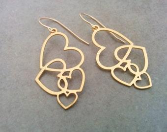 Gold Heart Earrings, Heart Earrings, Gold Earrings, Heart Jewelry, Heart Gold Earrings, Gold Heart, Gold Heart Jewelry, Dangle Earrings