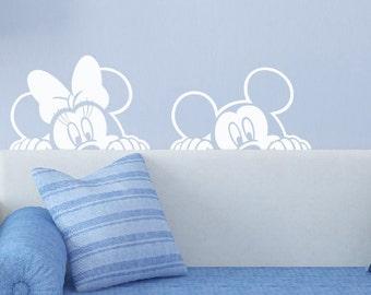 Mickey Minnie Mouse Decal, Sticker, Peeking, Wall Art, Vinyl Decal, Mural, Disney Nursery, Kid's Room, Bedroom, Playroom