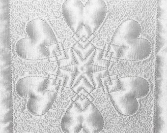 Machine Embroidery Design - Heart # 4 Quilting Block- Trapunto  4 sizes