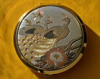 Boxed and Unused Queen Star Metallic Peacock Design Powder Compact 1990s Japan