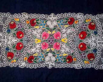 Large  Richelieu Hungarian Hand embroidered Lace Table runner/ 43 x 20 ""