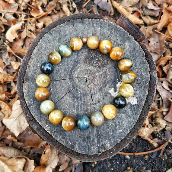 Tiger Eye Gold Rare Yellow Blue Mix Mens Large 10mm Stretch Bead Bracelet OOAK Fall Summer Style Natural Gemstone by NewEarthGem
