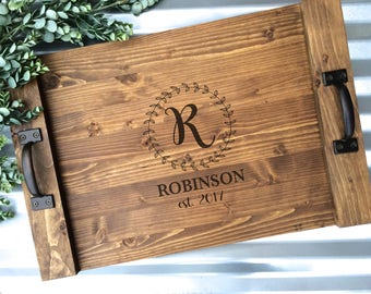 Rustic Personalized Serving Tray, Custom Wood Tray, Rustic Wedding Gift, Anniversary Gift