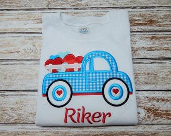 Valentine shirt; Boy's Valentine shirt; Boy's Valentine; Boy's truck shirt