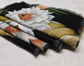 Black Night Blooming Cereus Reuseable Cloth Napkin Set of 4