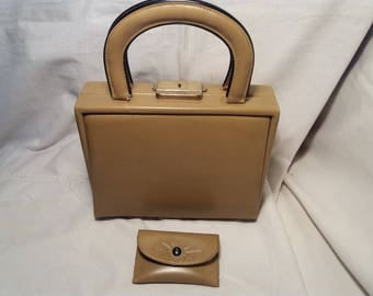 Vintage Dark Yellow Faux Leather Lady's Cosmetic Handbag - NEW