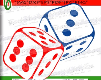 Dices Svg - Playing Dices SVG - Dices SVG file - Silhouette Cut Files - Casino svg - DIY- Svg - Dxf - Eps - Png - Jpg - Pdf