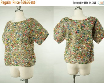 EVERYTHING ON SALE Vintage Hand Crochet Multi-Colored Heavy-Weight Sweater