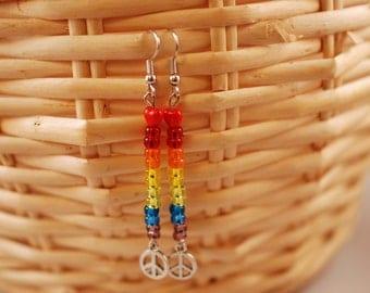 Peace, Love, and Rainbows Boho Earrings