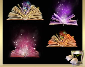 4 Magical OverlaysVol. 9 -  magic shine book overlays - magical glow light effect - Magical Book - Book Overlay - Fairy Dust Magic Fantasy