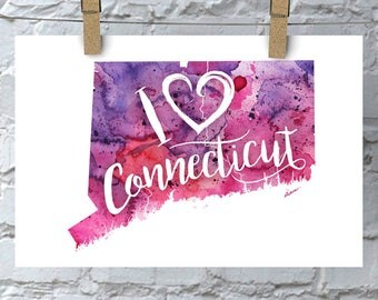 I Heart Connecticut Map Art Print, I Love Connecticut Watercolor Home Decor Map Painting, CT Giclee State Art, Housewarming or Moving Gift