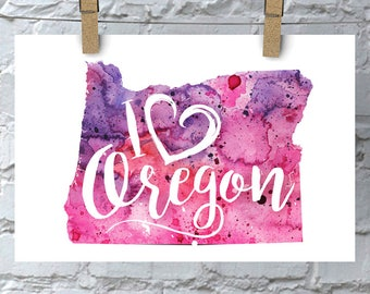 I Heart Oregon Map Art Print, I Love Oregon Watercolor Home Decor Map Painting, OR Giclee US State Art, Housewarming Gift, Moving Gift, Art
