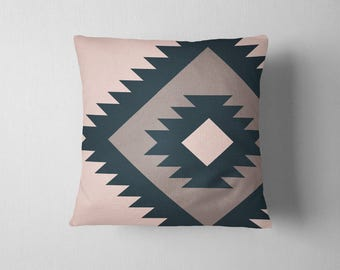 Oversized navajo tribal pattern throw pillow - Teal