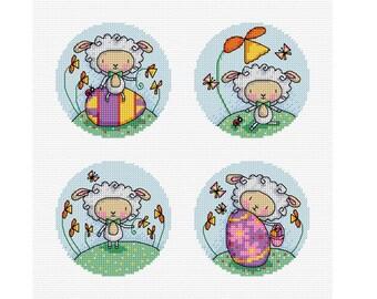 Easter Lambs - Set of 4 - Durene J Cross Stitch Patterns - DJXS 2209