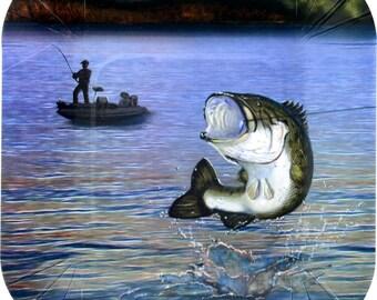 Bass fishing Dessert Plates 8 pack/Bass Fishing Small Square Plates/Fisherman Themed Plates/Lake Party Plates/Fish Fry Small Plates