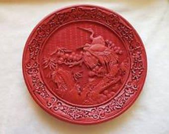 Vintage Carved Cinnabar Plate with Storks Cranes Asian
