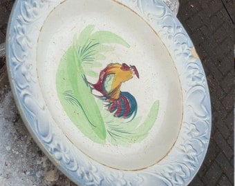 Vintage Chicken Plate / Soup plate / French Plate / Vintage Plate / Vintage French Plate