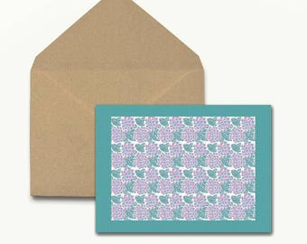 Floral On Check Note Cards - Box of 10 With Envelopes