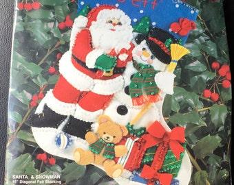 "Bucilla 33391 Gallery Of Stitches Santa & Snowman Stocking Felt 15 "" Teddy Bear Presents  New Sealed"
