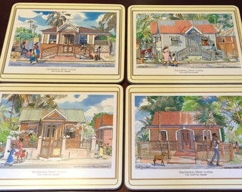 Pimpernel Placemats Place Mats Barbados Jill Walker Street Scenes Palm Trees Vacation Island Life Beach House  Acrylic Set Of 4
