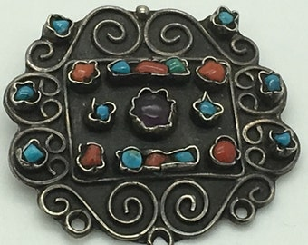 Mexico Taxco Sterling Silver Pendant Brooch Turquoise Coral Amethyst Matl Style Scroll  Work Hand  Wirework Channel Settings Floral