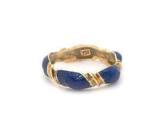 Vintage 18k Yellow Gold Band Style Ring with Royal Blue Colored Enamel-Size 7.25