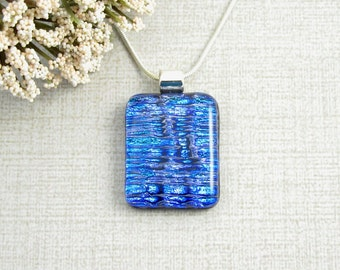 Royal Blue Dichroic Glass Necklace - Textured Blue Fused Dichroic Pendant - Dichroic Glass Jewelry