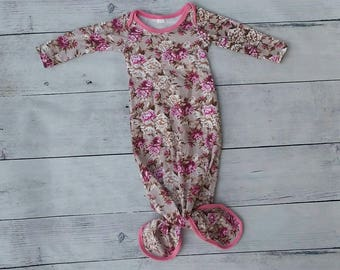 Knot Baby Gown Autumn Pink Floral