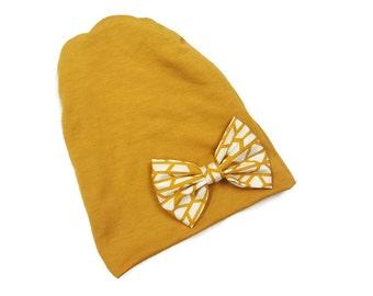 Slouchy Beanie, slouchy beanie, hipster beanie, mustard beanie, golden beanie, hipster beanie, slouchy hat, beanie - Gold Big Bow Beanie