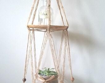 Handmade Macrame 2-tier plate hanger/ holder