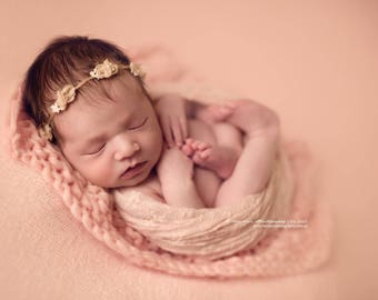 UK Seller RTS| Very Soft Peach Lace Wrap for Newborn Photography-Photo Prop