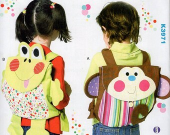 Free Us Ship Kwik Sew 3971 Child's Boy or Girl Frog Monkey Animal Backpack School Bag Messenger Uncut Sewing Pattern ff