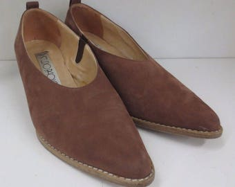 Studio Paolo Brown Leather Ankle Booties Made in Italy Size 6.5