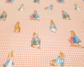 Vintage Wallpaper Peter Rabbit Beatrix Potter Gingham Pink Blue Nursery
