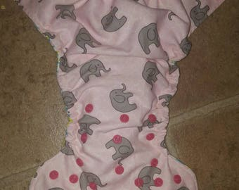 Small/ newborn pink with grey elephants, pocket cloth diaper