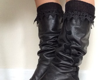 Knee Hi Black Boot Socks with Lace Trim, Lace black boot socks