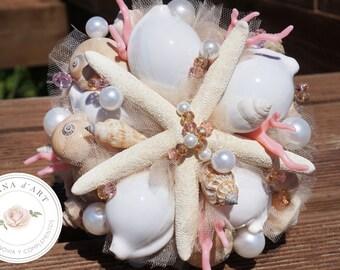 Beach wedding bridal bouquet, White sea shells bouquet, Beach wedding bouquet in white and pink tones