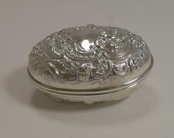 Antique English Sterling Silver Travel Soap Box by William Comyns