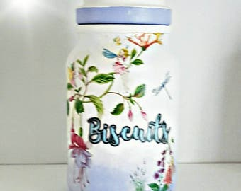 Biscuit jar, cookie jar, fairy Cookie jar, fairy gift, kitchen storage jar, fairy gift, gift for new home, gift for her, purple kitchen