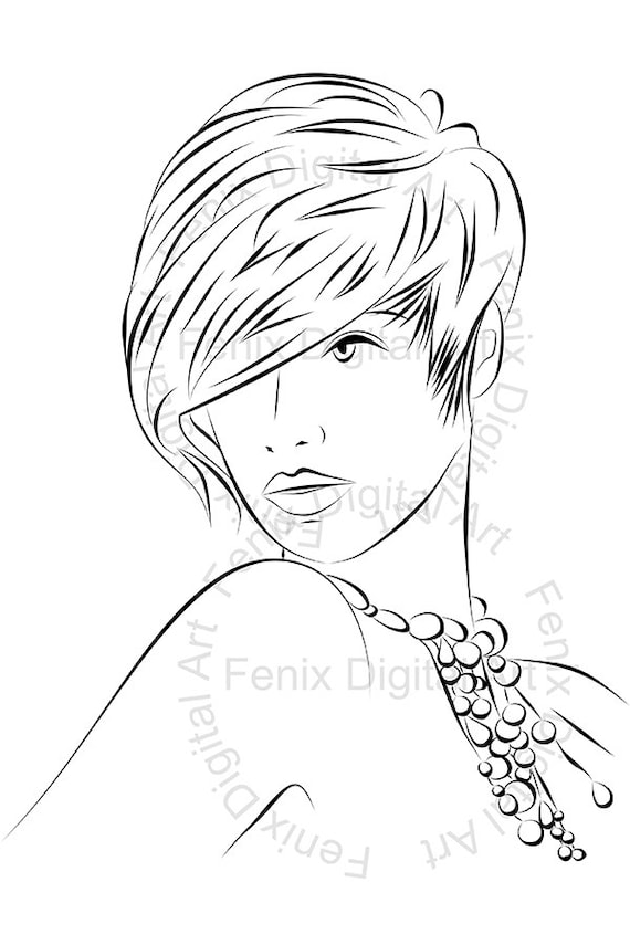 Line Art Fashion : Digital stamp clipart line art fashion lady portrait