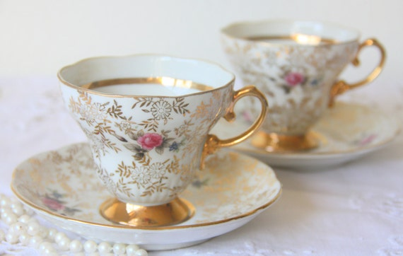 Set of Two Vintage Porcelain Cup and Saucers, Gold Flower Chintz Pattern and Pink Rose Decor