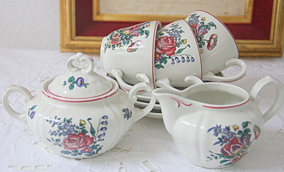 Set of Three Vintage Villeroy and Boch 'Alsace' Tea-or Coffee Set, Flower Decor, Germany