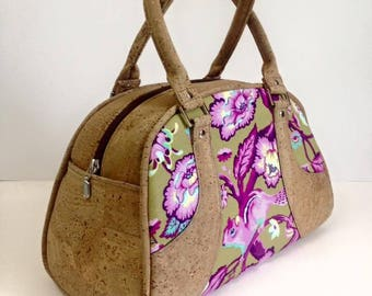 Retro style Maisie bowler bag - Gorgeous Tula Pink Chipmunk fabric - natural with gold flecks  portuguese cork and Tula interior
