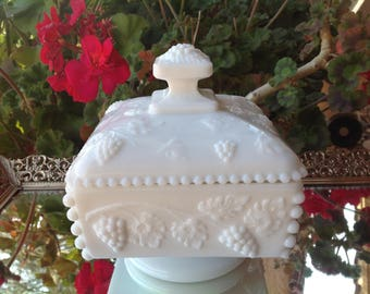 Vintage Westmoreland Square, Pedestal Milk Glass, Dish with Lid - beaded grape pattern