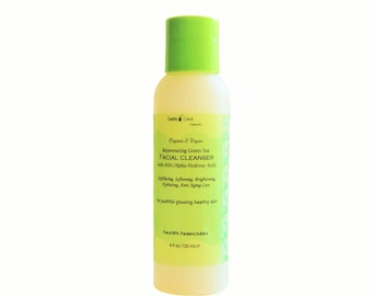 AHA Exfoliating Cleanser, Anti Aging Fine line Smoothing Cleanser, Sulfate Free, Vegan Non Drying Facial Wash, Free Shipping.