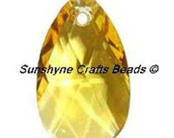 Swarovski Crystal Beads 6106 LIGHT TOPAZ Pear Shaped Pendant 1 Pc - 16mm & 22mm Available