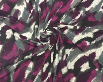 Purple, Grey, Black Knit Printed Fabric | Stretch Knit Printed Fabric for Sewing