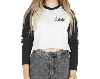 Crybaby Pocket Crop Raglan Top Shirt Tee T-shirt Fashion Cute Tumblr