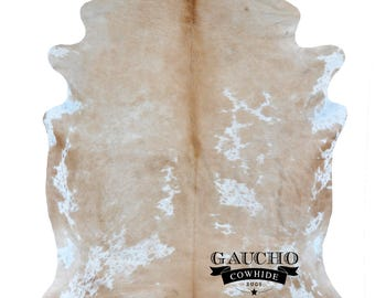 Creamy Beige & White Cowhide Rug - Premium Quality - Free Shipping